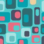 blog header image. teal and coral geometric pattern